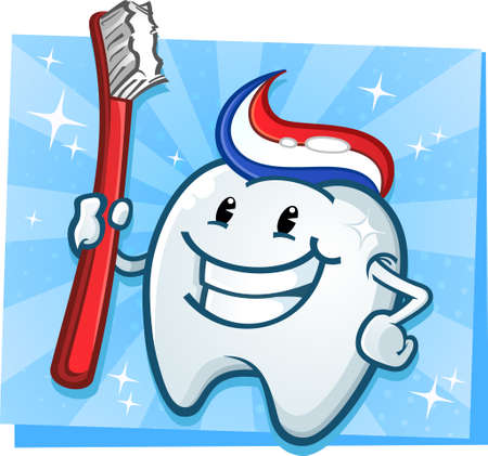dientes caricatura: Diente dental carácter de la mascota de dibujos animados con el cepillo de dientes