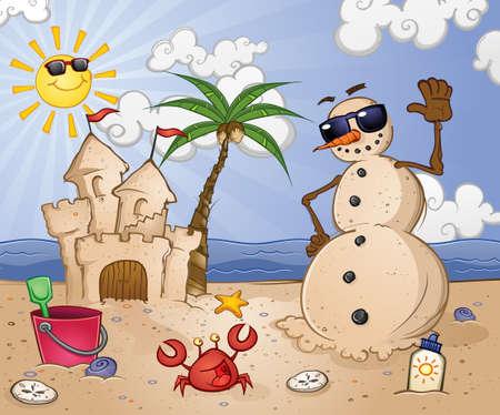 熱帯のビーチで砂の雪だるまの漫画のキャラクター