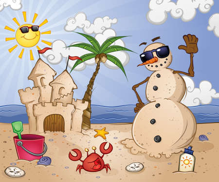 Sand Snowman Cartoon Character on a Tropical Beach Vector
