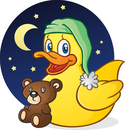 Rubber Duck Nap Time stripfiguur Stock Illustratie