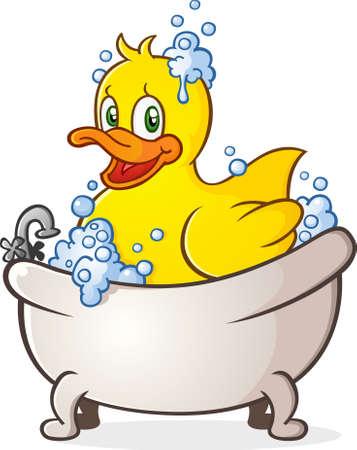 욕조에 고무 오리 거품 목욕 만화 캐릭터 일러스트
