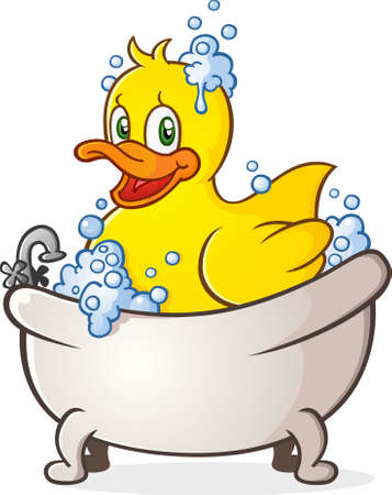 swimming bird: Rubber Duck Bubble Bath personaje de dibujos animados en la ba�era Vectores