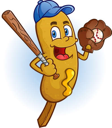 Corn Dog Cartoon Character Playing Baseball Vector