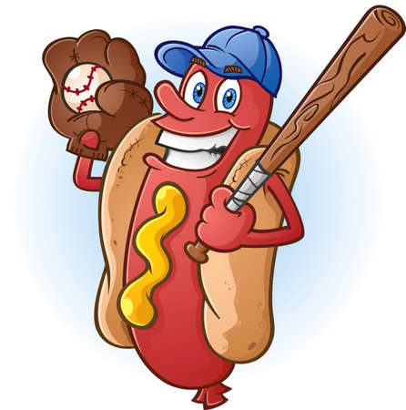 Hot Dog Cartoon Character Playing Baseball Vector