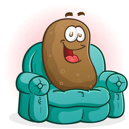 russet potato: Couch Potato Cartoon Character Watching TV Illustration