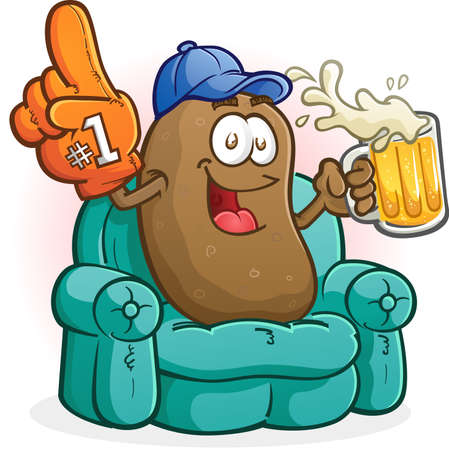 russet potato: Couch Potato Sports Fan Cartoon Character Watching TV