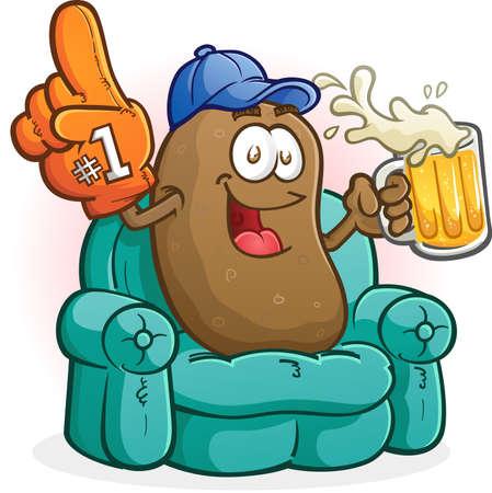 Couch Potato Sports Fan Cartoon Character Watching TV