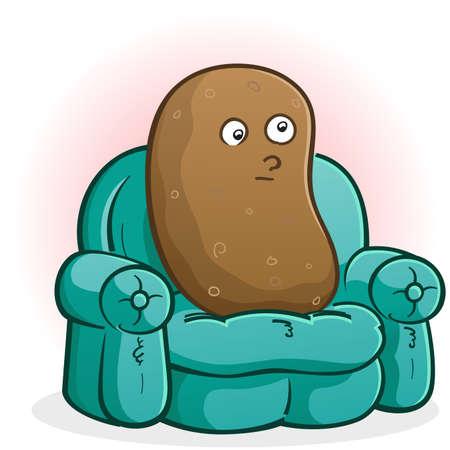ソファのジャガイモの漫画のキャラクター テレビを見て  イラスト・ベクター素材