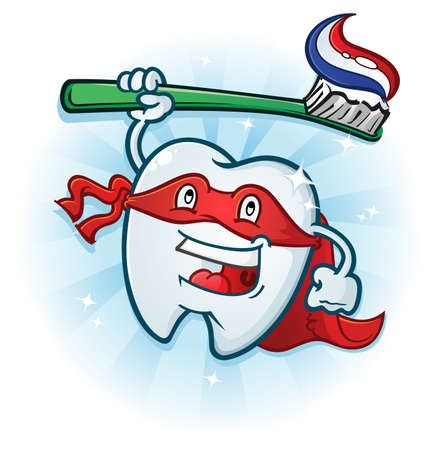 Tooth Hero Mascot Cartoon Vector