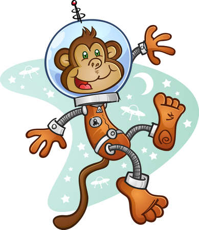 Monkey Astronaut Cartoon Character in a Space Suit Illustration