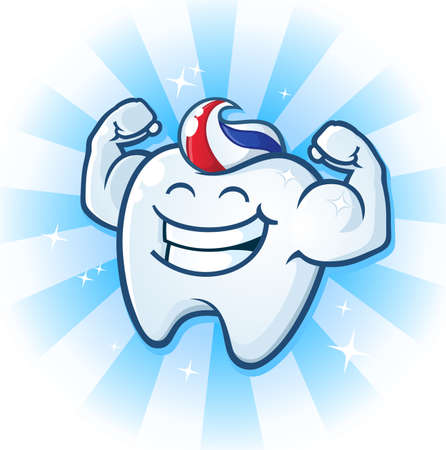 tooth root: Tooth Mascot Muscle Man Dental Cartoon Character