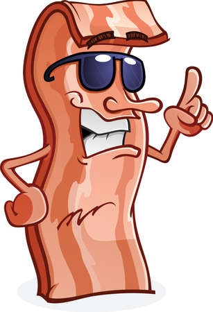 cooked meat: Bacon Cartoon Character Wearing Sunglasses