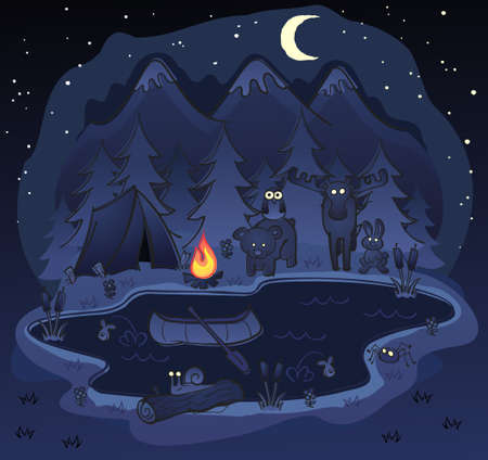 Camping At Night with Animal Friends Vector