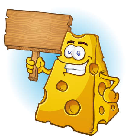 Cheese Cartoon Character Holding Wooden Sign