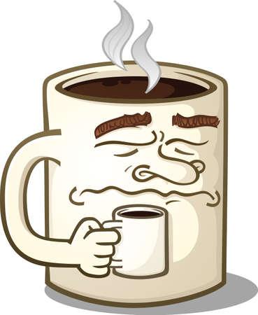 小さなマグカップを保持している不機嫌そうなコーヒー ・ マグの漫画のキャラクター  イラスト・ベクター素材