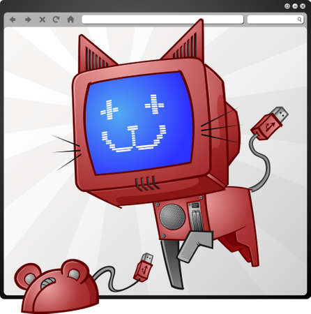 computer screen: Digital Cat   Mouse Cartoon Characters
