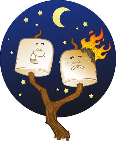 Roasting Marshmallow Cartoon Characters Vector