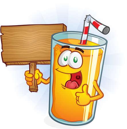 Orange Juice Cartoon Character Holding Sign Illustration