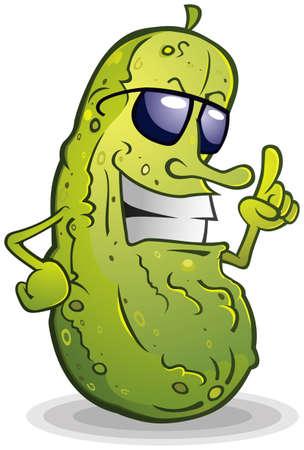 Pickle tragende Sonnenbrillen Cartoon-Charakter Standard-Bild - 26740297