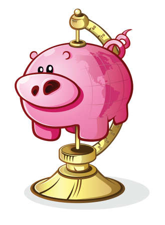 Piggy Bank Globe on a Stand Cartoon Character Illustration