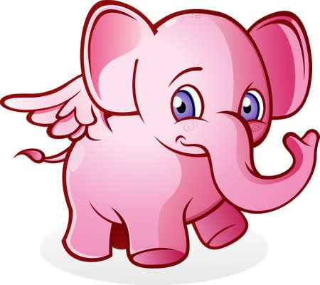 Flying Pink Elephant Cartoon Character Vector