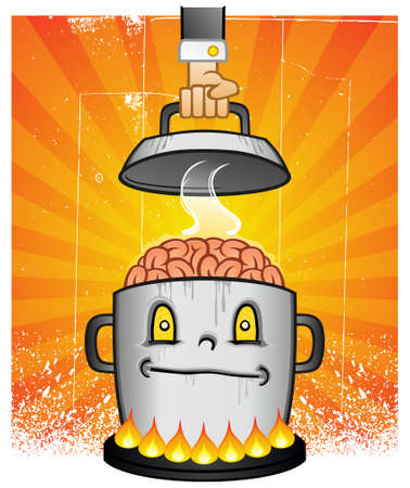 Boiling Pot Of Brain Cooking On A Stove Cartoon Vector