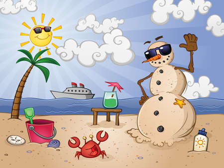 suntan lotion: Sand Snowman Cartoon Character on a Tropical Beach Vacation in Paradise
