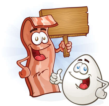 Bacon And Egg Breakfast Cartoon Characters Vector