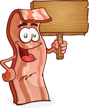 Bacon Cartoon Character Holding a Wooden Sign Vector