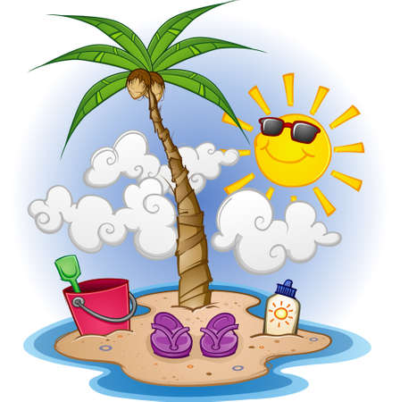Island Paradise Cartoon Vector