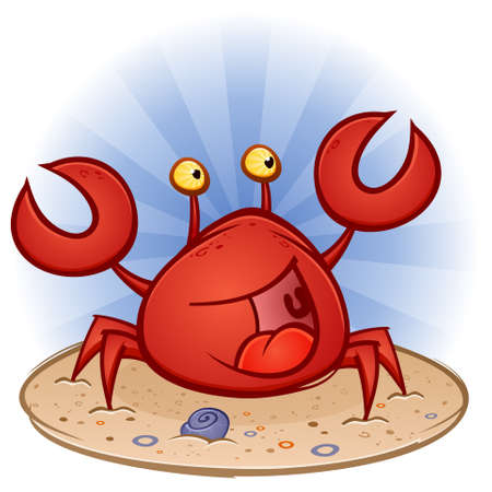 Crab Cartoon Character at the Beach Vector