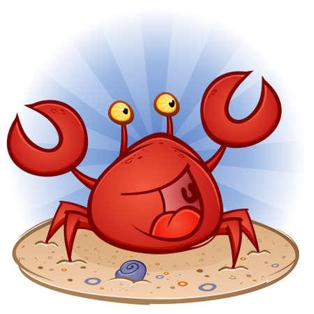 pincher: Crab Cartoon Character at the Beach