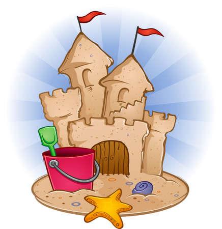 Zandkasteel met speelgoed op het strand Stock Illustratie