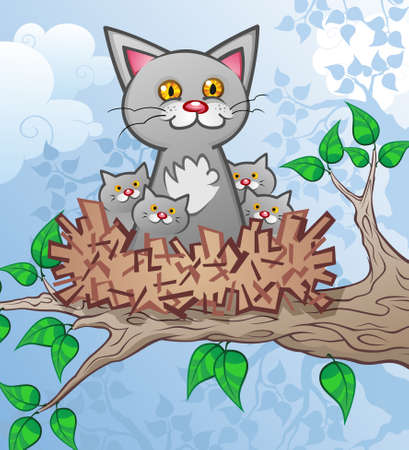 Cat and Kittens in a Tree Nest Cartoon Characters