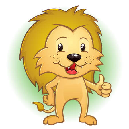 Lion Big Cat Cartoon Character Thumbs Up Ilustração