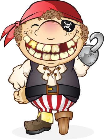 Jongen Pirate Costume stripfiguur