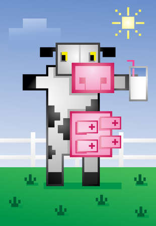 blocky: Video Game Cow Drinking Milk Cartoon Character