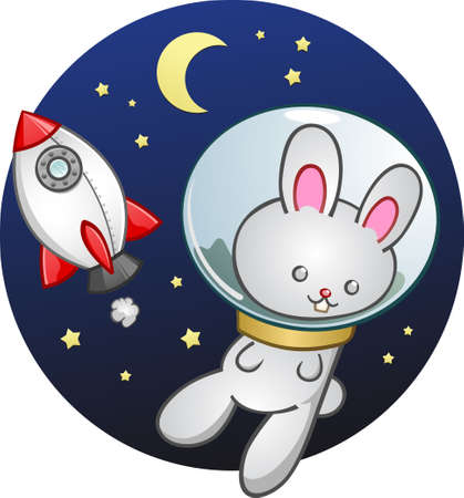 vapor trail: Rocket Ship Bunny Rabbit Cartoon Character