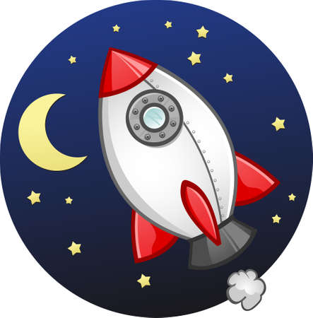 blast off: Toy Rocket Ship Cartoon