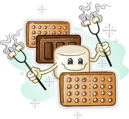 Marshmallow Smores Cartoon Charakter mit Braten Sticks Standard-Bild - 26740411