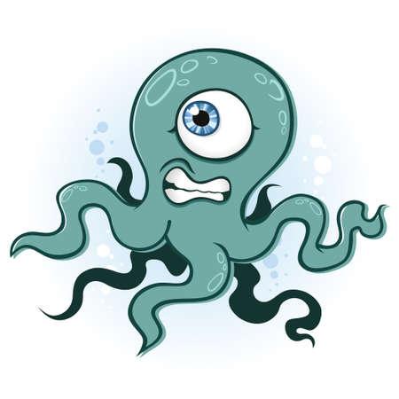 cyclops: Octopus Squid Cyclops Monster Cartoon Character Illustration
