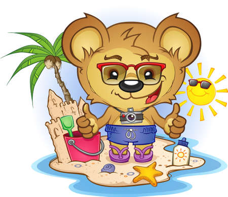 flip flops on the beach: Beach Teddy Bear Cartoon Character