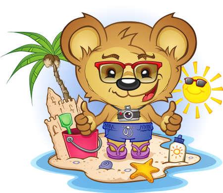 cartoon beach: Beach Teddy Bear Cartoon Character