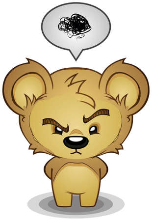 angry teddy: Frustrated Bear Cartoon Character