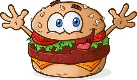 Hamburger Cheeseburger stripfiguur vieren met armen in de lucht