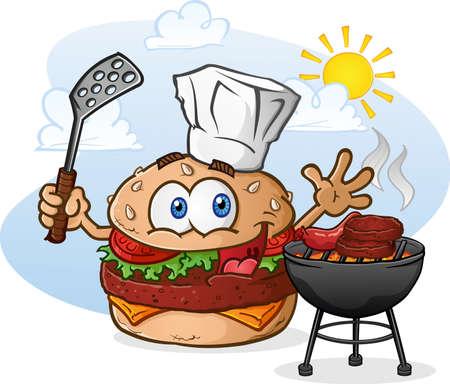 ハンバーガー チーズバーガー漫画文字シェフの帽子とグリル  イラスト・ベクター素材