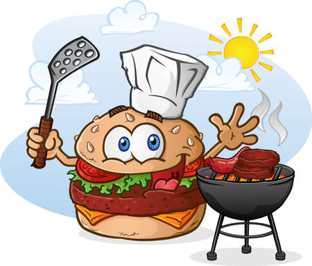 ground beef: Hamburger Cheeseburger Cartoon Character Grilling with a Chef Hat