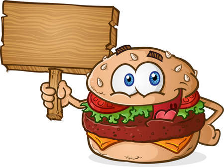 ground beef: Hamburger Cheeseburger Cartoon Character Holding a Wooden Sign