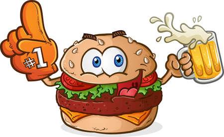 hamburguesa: Hamburguesa con queso Sports Fan personaje de dibujos animados que bebe cerveza con un dedo de espuma