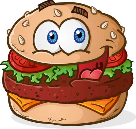 ground beef: Hamburger Cheeseburger Cartoon Character Illustration
